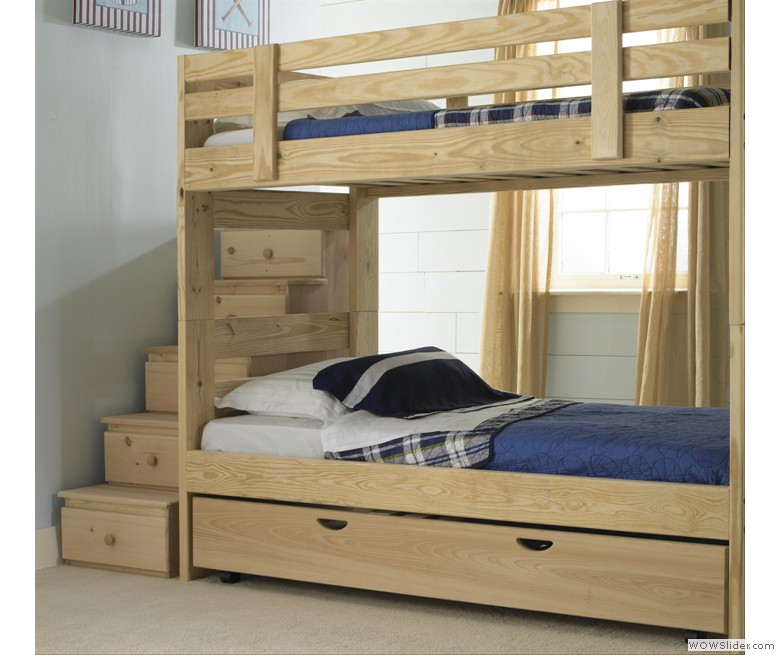 Stackable Bunk Bed with Storage Stairs and Trundle Bed | 1800BunkBed