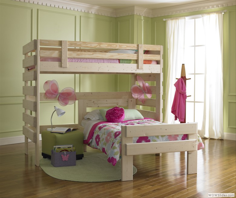 L Shaped Bunk Bed Custom Built Solid Wood Bunk Bed