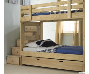 Stackable Bunk Bed with Storage Stairs & Trundle Bed