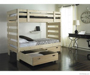 Tall Non-Stackable Bunk Bed with Storage Drawers